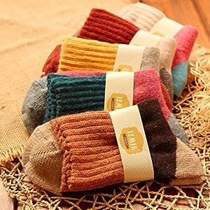 CXKWZ Damensocken 5 Paare/Los Frauen Winter VintageSocken Verdicken Warme Weibliche Mode Patchwork Retro Thermische Baumwollsocken