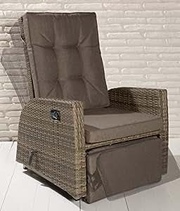 2x luxus polyrattan xl gartensessel mit verstellbarer for Schaukelstuhl balkon