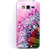 JIAXIUFEN Impreso patrones teléfono caso suave cubrir volver piel protectora Shell Carcasas Funda para Samsung Galaxy Grand Prime G530/G530H/G530FZ/G5308W/G5309W/G5306W- Pink Flower with Clear Water Drop