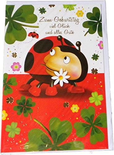 Glückwunschkarte Zum Geburtstag - Tiere - Marienkäfer mit Kleeblatt - Mehrfarbig - mit Briefumschlag