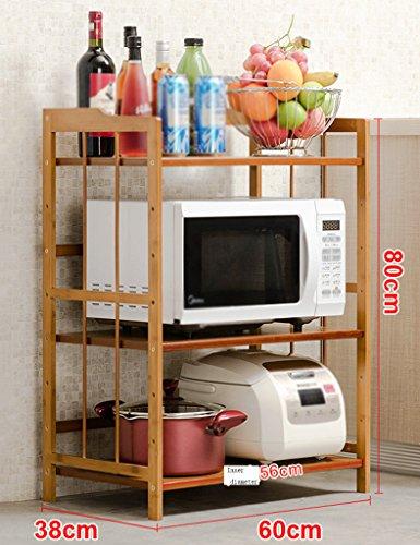 Preisvergleich Produktbild HWF Küchenwagen 3 Layer Küche Regalboden Lagerung Rack Mikrowelle Ofen Rack Küche Zubehör Bambus ( Farbe : 60 )