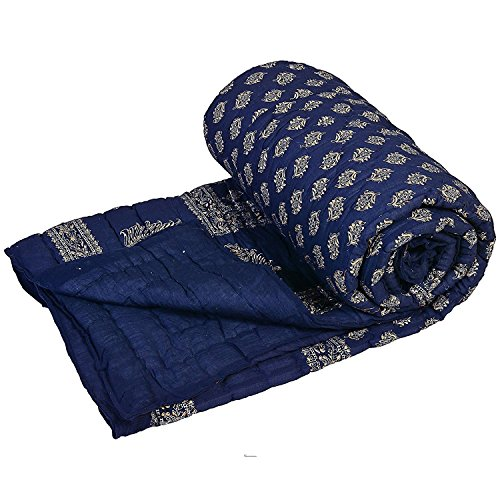Krg Enterprises Jaipuri razai Dark Blue Double Bed Cotton Rajasthani...