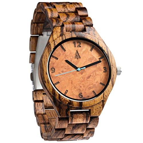 treehut Herren Zebrano Ahorn Burl Holz Uhr mit alle Holz Band Quarz Analog mit Uhrwerk und Edelstahl Tri-Fold Schließe mit Druckknöpfen, Freund Geschenk, 4,3cm