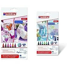 Edding - Pack 6 rotuladores con punta de pincel, gama rojo/rosa + 6 rotuladores con punta de pincel, gama verde/azul