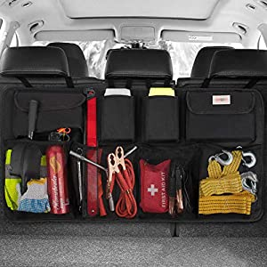 Kofferraum organizer auto, SURDOCA® 3rd Gen [doppelte Kapazität] organizer auto, ausgestattet mit [Starkes elastisches Netz & 4 Zauberstabstruktur ] kofferraumtasche, autotasche kofferraumtasche.