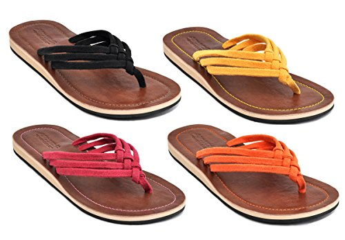 Amboss Damen Sandale Zehentrenner mit Echt Leder Gr.40 Farbe Schwarz
