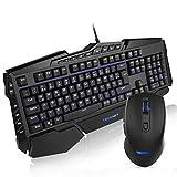 Gaming Tastatur und Maus Set(QWERTZ), TECKNET Wasserdicht Programmierbar Anti-Ghosting Gaming Maus und Tastatur, USB Kabel, 7 Hintergrundfarben, LED Illuminated Bild