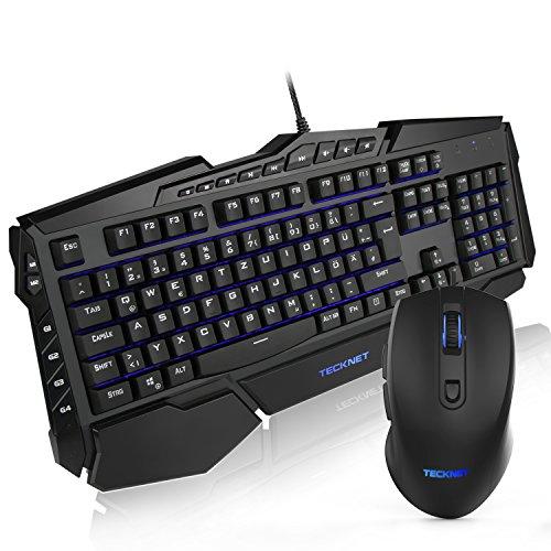 Gaming Tastatur und Maus Set, TeckNet® LED Illuminated Programmierbare Gaming Keyboard und Maus Set, 3 adjustierbare Hintergrundfarben, 10 programmierbare Tasten, Wasserresistente (Fly Maus Tastatur)