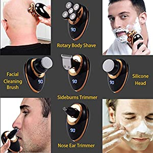 Electric Shaver Razor for Men,Mens Shaver Trimmer Grooming 5 in 1,Rotary Cordless Hair Clippers for Perfect Bald Look with 4D Floating 5 Razor Head, LED Display,IPX7 Waterproof Quick USB Rechargeable