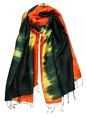 Exklusiv Seidenschal Pure Silk ca. 180 cm x 75 cm dreifarbig, Farben Seidenschals:black/yellow/orange (24)