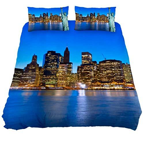Bennigiry Bettbezug-Set aus Mikrofaser, Freiheitsstatue New York USA, weich, atmungsaktiv, mit Reißverschluss, Eckbändern für Männer und Frauen, Polyester, Multi, Extra Long Twin 71 x 83 \ 19 x 29 in - Männer Bettbezug Twin