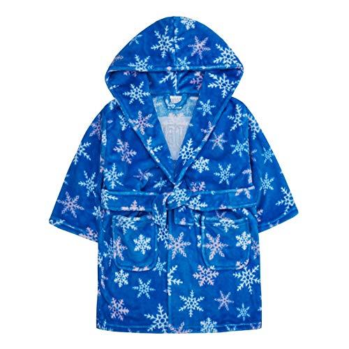 Lora Dora - Albornoz con Capucha para niñas, diseño de Copo de Nieve Azul Azul 5-6 Años