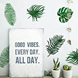 Gemini_mall® 6 Sheets Removable Green Palm Leaves Tropical Wall Decal Sticker DIY Living Room Bedroom Decor