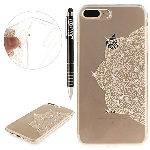 Custodia iPhone 7 Plus Glitter, iPhone 7 Plus Cover Silicone Trasparente, SainCat Cover per iPhone 7/8 Plus Custodia Silicone Morbido, Bling Glitter Strass Diamante Shock-Absorption Custodia Ultra Sli Mezza Fiori Bianchi