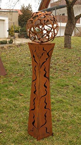 floristikvergleich.de Gartendeko Rost Laternen Fackelsäule Rost Fackel Säule 125cm tailliert mit Feuerkugel *