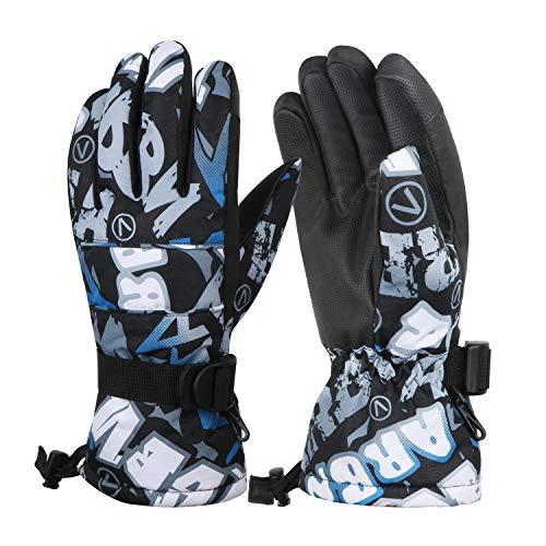 JTENG Skihandschuhe Warme Winter Handschuhe Kalt Wetter Handschuhe Reißfeste Outdoor Sport Handschuhe für Laufen Skifahren Radfahren Motorrad (Blau, M)