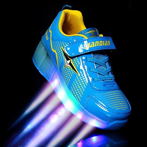 SGoodshoes Homme Femme LED Chaussures à roulettes Patins Garçon Sneakers Clignotant Sport Chaussures Patins Enfants Fille Garçon Bleu