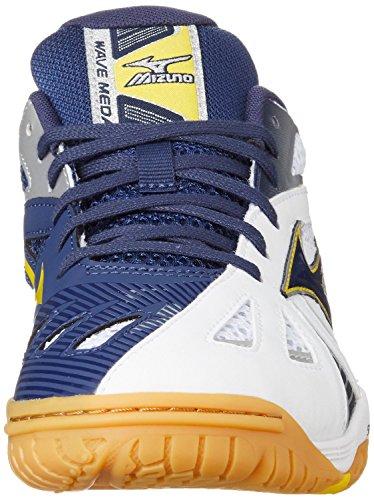 Mizuno Chaussures Wave Medal 5 White/MedBlue/CyberYello