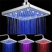 DELIPOP alcachofa de ducha de sensor de temperatura 3 cambio de color 8 Inch Square Spray flujo de agua alimentado por ABS cromado acabado 12 LED para Cuarto de baño