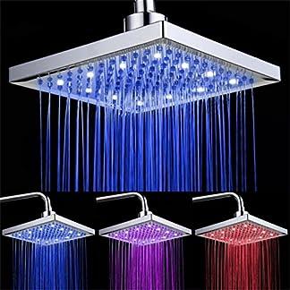 Alcachofa de ducha de sensor de temperatura, 3 cambio de color 8 Inch Square Rociador superior de ducha con 12 leds para baño