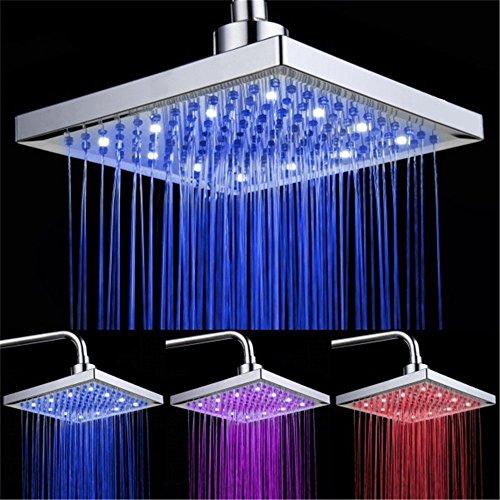 DELIPOP LED Duschkopf viereckig 20cm Temperatur Control 3 Farbwechsel Wasser Flow Powered ABS Chrome Finish 12 LEDs für Badezimmer -