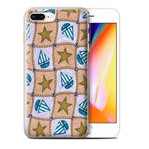 Stuff4 Gel TPU Hülle / Case für Apple iPhone 8 Plus / Pfirsich/Lila Muster / Boote und Sterne Kollektion Braun/Blau