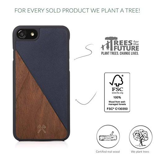 Accessories woodce–ecocase Split–Premium Design Étui, case, Cover, protection, Back Cover, Coque pour l'iPhone en bois véritable, certifié FSC et cuir artificiel | main + individuellement + haute  Walnuss/ blaues Leder