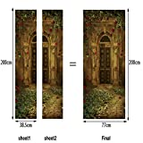 L-com LLL MT021 Türbild Türaufkleber Türposter Villa Tür Garten Landschaft PVC Material Selbstklebend Wasserdicht 3D DIY Dreidimensional Wandgemälde