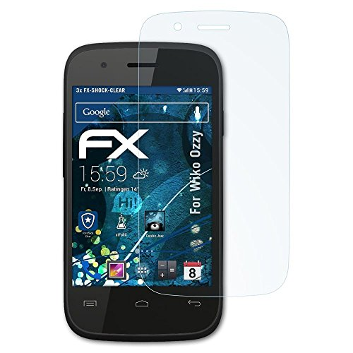 atFolix Schutzfolie kompatibel mit Wiko Ozzy Panzerfolie, ultraklare & stoßdämpfende FX Folie (3X)