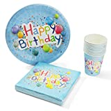 UMOI Einweg Geburstag Partygeschirr Set - 30 Hochwertige Pappteller, 30 Pappbecher und 60 Servietten für den Kindergeburstag 120tlg. (Geburtstag Ballon)