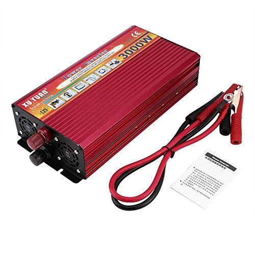 Erduo Professionelle 3000W Wechselrichter DC 12V bis AC 220V mit LED-Anzeige Licht Lüfter Kühlung Universal Socket Car Converter - rot