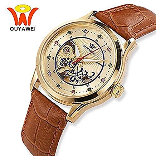 Damen Luxus Golden Mechanische Automatik Armbanduhr Skelett Automatikuhr Uhr Herren Uhren Strass Skala Braun-Lederband Band