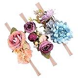 Homyl 3er Set Mädchen Baby Haarband Stirnbänder Blumen Haarschmuck Fotoshooting Kostüm - Stil 1, wie beschreiben