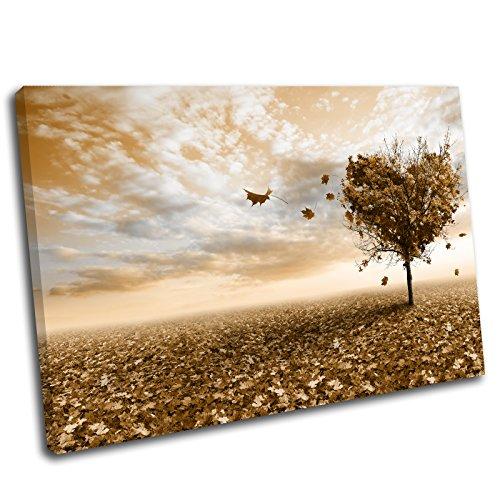 Canvas Culture Bild mit Rahmen, Kunstdruck, Motiv Landschaft mit Herzbaum 12x8 orange
