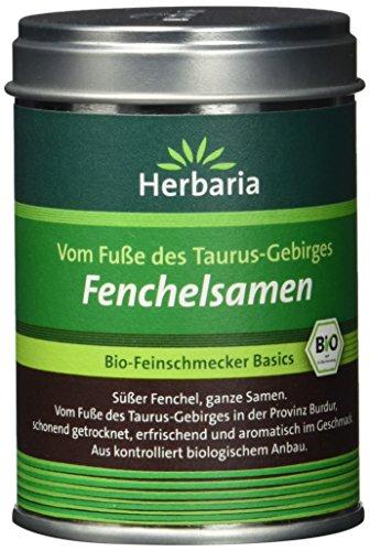 Herbaria Fenchelsamen süss, ganz, 1er Pack (1 x 40 g Dose) – Bio
