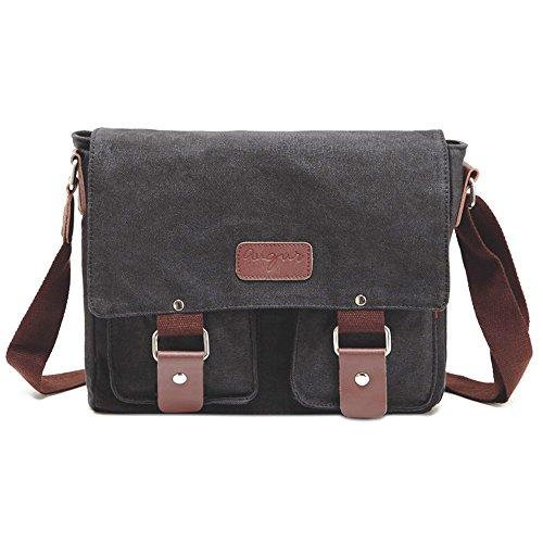 Umhängetasche Herren Schultertasche Damen Retro Canvas Umhängetasche Vintage Schultasche Messenger Bag Schwarz (Canvas Retro Messenger Bag)