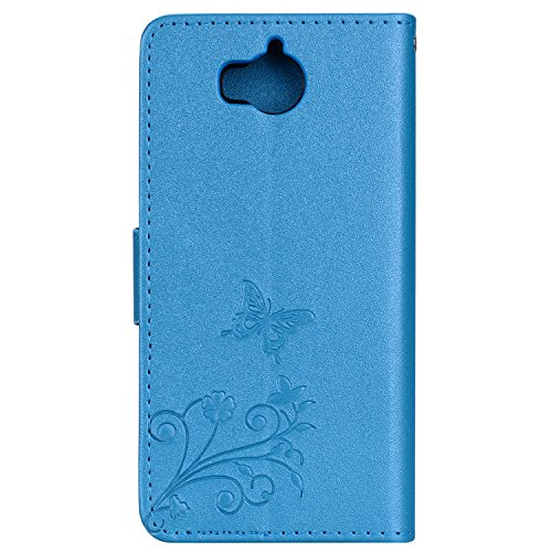 Surakey Coque Huawei Y6 2017,Fleur de Papillon Motif Cristal Glitter Strass PU Cuir Case à rabat Coque Portefeuille Housse Flip Wallet Case Magnétique Étui pour Huawei Y6 2017, Bleu