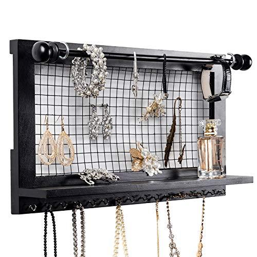 SWEETV Hängender Schmuckhalter Schmuckschrank Wand Schmuck Veranstalter für Ringe, Ohrringe, Armbänder, Halsketten, Kosmetika, Schwarz - Wand Veranstalter