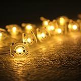ELINKUME String Luz Cálida Blanco 20 LEDs Encantador Gato Decoración Iluminación de Batería Fácil Conveniente Instalación Para la Decoración Habitación/ Cortinas de la Sala de Estar/ Festival