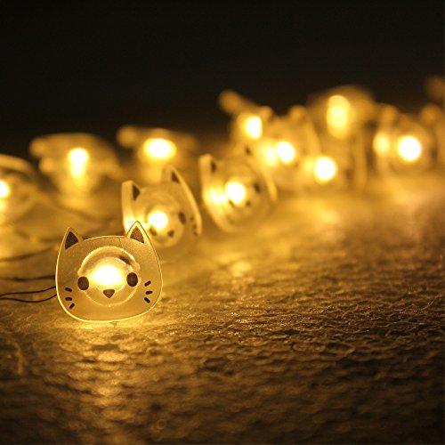 ELINKUME 20 Led Lichterketten Indoor String mit Warm weiß schöne Katze für Weihnachten Outdoor Hochzeit Festoon Party etc. -