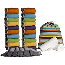 Close Parent 5060123253023 - Pack de 20 pañales de tela de bambú + 6 absorbentes de noche + 160 forros + 1 bolsa impermeable