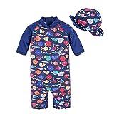 BIG ELEFANT Kinder Baby Jungen Anti UV All-in-One Sonnenschutz Schwimmen Anzug Kleidung mit Hut Q68