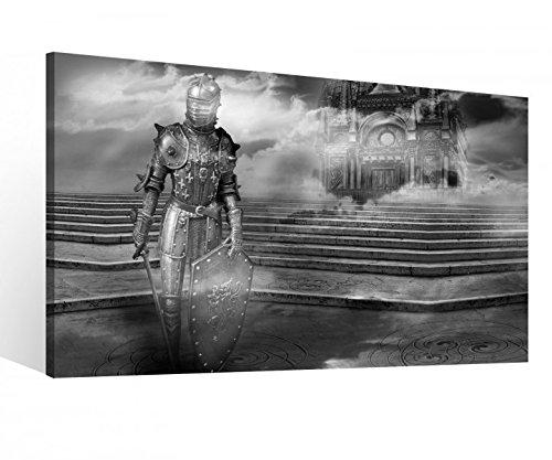 Leinwand 1Tlg XXL Ritter Schloss Burg Rüstung Schwert schwarz weiß Leinwandbild Bilder Wandbild fertig gerahmt 9R955, XL 1Tlg BxH:100cmx60cm