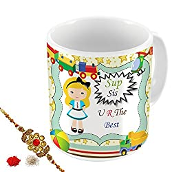 Aart Store Sis You Are The Best Multi Colours Printed Mug,Rakhi,Roli,Chawal Gift Pack for Brothers/Sisters to Enjoy Raksha Bandhan Festival.