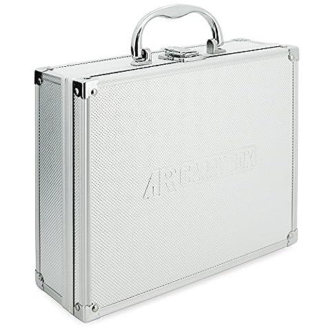 AR Carry Box® Kleiner Alukoffer Werkzeugkoffer Aluminium Koffer leer 260x210x80mm Farbe Alu / Silber, 260x210x80mm Silber (Rasterschaum)