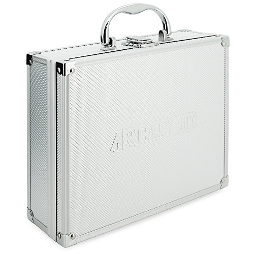 AR Carry Box® Kleiner Alukoffer Werkzeugkoffer Aluminium Koffer leer 260x210x80mm Farbe Alu/Silber, 260x210x80mm Silber (Rasterschaum)