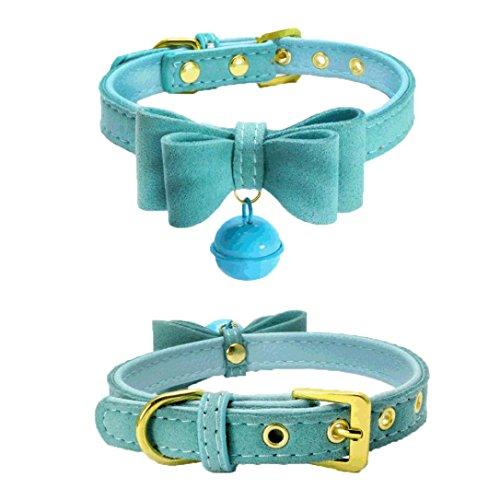 Hunde Katze Welpen Wasserdichte Niedlich Bowknot Nieten Halsband Halsbänder Verstellbar Leder Schnalle mit Bell Halskette für Haustier Hunden Katzen (XS, Blau) (Niedliche Chihuahua-kostüme)