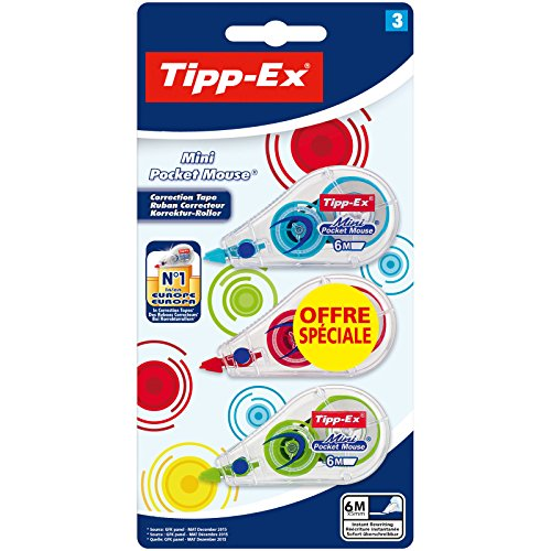 Tipp-Ex Mini Pocket Mouse, confezione da 3 pezzi nastro correttore