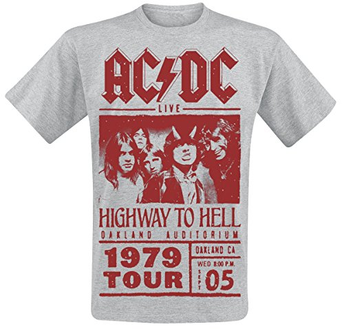AC/DC Highway To Hell - Red Photo - 1979 Tour T-Shirt grau meliert M (Dc-shirt Grau)