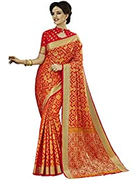 EthnicJunction Women's Patola Silk Saree With Blouse (Red And Orange_EJ1163-4002)